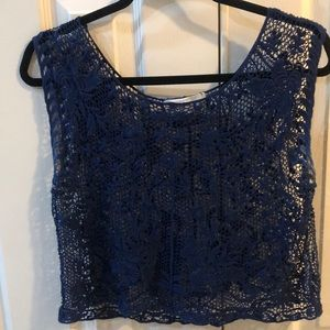Abercrombie See thru navy Blue Girls shirt